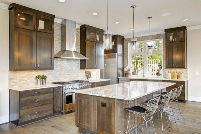Natural stone, jute, painted shiplap and beadboard, and unique finishes kitchen design trend 2019 - Steinborn & Associates